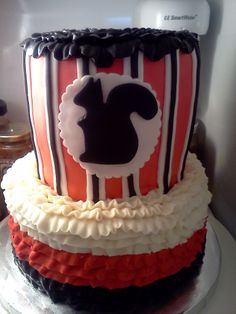 Squirrel cake, red black white stripes, ruffles www.facebook.com/simplycakes.brittneyshiley Squirrel Cake, Squirrel Food, Red Squirrel, Black White Stripes, Red Black, Black And White, Bithday Cake, Squirrels, Themed Cakes
