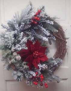 Beautiful Elegant Red and White Flocked Grapevine Wreath for Door or your Wall