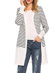 Women s Casual Striped Long Sleeve Open Front Drape Color Block Knit  Cardigan Sweaters a7a2dc5ab