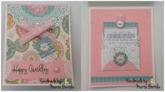 Happy Birthday Card, patterned paper, ribbon lace, doily paper, button and pearl. Paper Ribbon, Paper Doilies, Happy Birthday Cards, Pearl, Button, Lace, Pattern, Handmade, Happy Birthday Greeting Cards