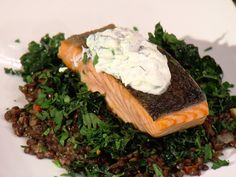 Sauteed Salmon Fillet with Tzatziki and Warm Lentils recipe from Anne Burrell via Food Network Lentil Recipes, Fish Recipes, Salad Recipes, Seafood Recipes, Recipies, Pine Nut Salad Recipe, Mustard Vinaigrette Recipe, Worst Cooks In America, Lunches