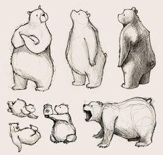 Miss Joelle - Mademoiselle Joelle - Art Sketches Animal Sketches, Animal Drawings, Cute Drawings, Drawing Sketches, Drawings Of Bears, Bear Sketch, Character Design Tutorial, Bear Character, Bear Art