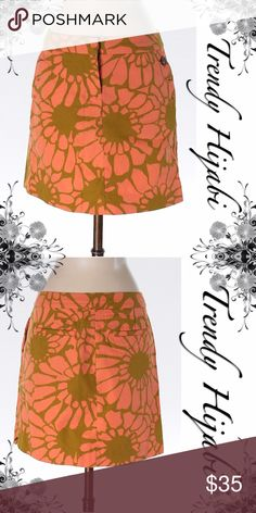 """J.CREW Olive Green & Orange Floral buttoned skirt Line silhouette Orange Printed Measurements 15"""" Length Materials 100% Cotton J. Crew Skirts A-Line or Full"""