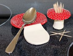 Ceramic spoon rest and toothpick holder set, handmade by FabulousFungi on Etsy