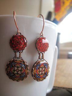 Cinco de Mayo earrings Mexican jewelry Red by ShrunkenCatHeads, $39.00