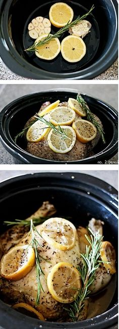 SLOW COOKER LEMON GARLIC CHICKEN – 4 LEMONS, 2-3 HEADS OF GARLIC, 1 WHOLE CHICKEN 4-5 LBS, FRESH ROSEMARY, OR ANY FRESH HERBS,ALL-PURPOSE STEAK SEASONING OR SALT N PEPPER