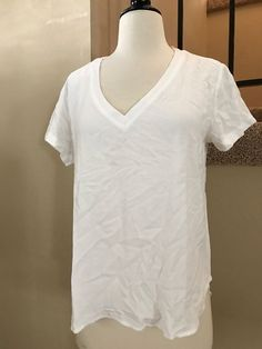Cloth and Stone Basic V Neck High Low Hem Rayon Tee in White Size S NWT  | eBay