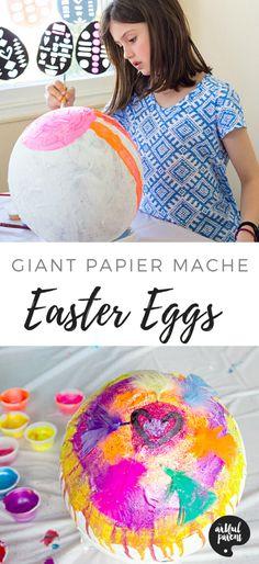 How to Make Papier Mache Easter Eggs #easter #eastereggs #artsandcrafts #eastercrafts #kidsactivities #kidscrafts