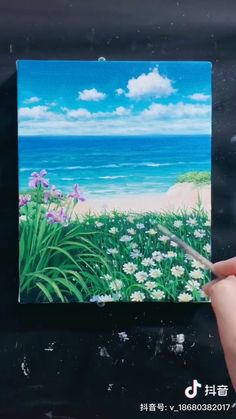 Easy Canvas Art, Small Canvas Art, Canvas Painting Tutorials, Acrylic Painting Canvas, Scenery Paintings, Landscape Paintings, Easy Paintings, Aesthetic Painting, Aesthetic Drawing