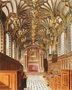 Chapel Royal at Hampton Court Palace, aquatint engraving by W. Pyne published as Plate 33 of The History of the Royal Residences; James Park, Los Tudor, Building Painting, The Royal Collection, Real Ghosts, Royal Residence, Hampton Court, Place Of Worship, Places Around The World