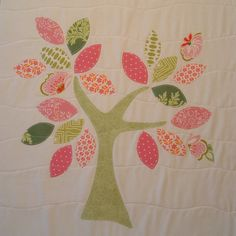fleece crib blanket, baby stroller blanket, nursery wall decor. pink and green tree with dots and church flowers