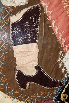 Crazy Quilting.  Love the saggy stocking.