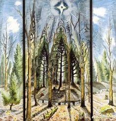 Glory to God Artwork by Charles Burchfield Hand-painted and Art Prints on canvas for sale,you can custom the size and frame