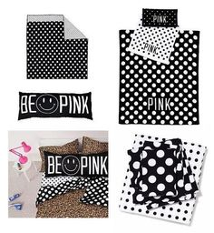 Victoria's Secret Pink BLACK polka dots COMFORTER+SHEET+TOWELS+PILLOW TWIN XL 8p #VictoriasSecret #pink