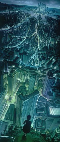 Cyberpunk city skyline.  - From Ghost in the Shell