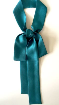 Silk Skinny Scarf 1.25inch wide x 50 inch long Neck Tie Sash Dark Teal in 2 layer thickness of Silk Twill $18.99 by SmithLab on Etsy
