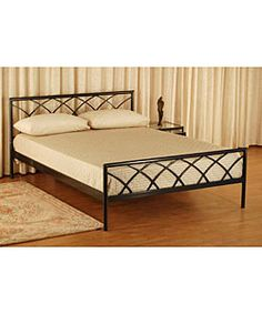 Complete your bedroom collection with this Cathedral queen-size platform bed Platform bed features sleek, durable steel construction Elegant bed is sure to enhance any home decor Steel Bed Design, Wood Bed Design, Bedroom Bed Design, Sofa Design, Iron Furniture, Bedroom Furniture, Furniture Design, Cama Queen Size, Queen Size Platform Bed