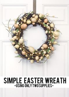 Make these adorable Easter Wreaths and Banners right now to decorate your home for Easter and Spring! They're a great, affordable way to spruce up your home with Spring Decor. Diy Spring Wreath, Diy Wreath, Grapevine Wreath, Wreath Ideas, Door Wreaths, Rustic Wreaths, Yarn Wreaths, Tulle Wreath, Winter Wreaths
