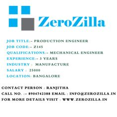 Mechanical engineer In Bangalore  For more details visit : www.zerozilla.in