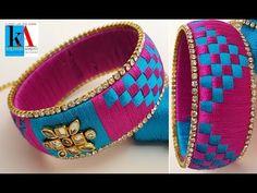 making unique silk thread checker model bangles || triangles kada bangles at home . in this video we have shown the making of kada bangles with checker model...