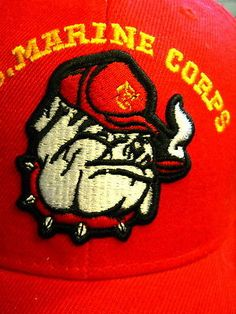 155100d0242 New USMC Marines Red Hat Cap Bulldog Center Yellow Once a Marine Lettering  Brim
