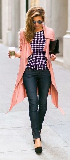 Chic preppy outfit with a buffalo check shirt, pink coat, skinny jeans and black flats that is perfect for any fashion lover for a casual weekend outfit