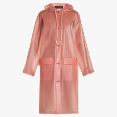 Burberry Long-sleeved Frosted Hooded Coat In Pink Red Raincoat, Raincoat Outfit, Hooded Raincoat, Plastic Raincoat, Rain Trench Coat, Hooded Trench Coat, Trench Coats, Women's Coats, Burberry Coat