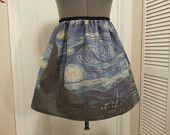 Van Gogh starry night skirt frm try http://www.etsy.com/shop/NerdAlertCreations #$45