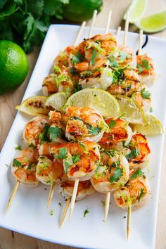 Cilantro Lime Grilled Shrimp | Shrimp in a tasty, light and fresh cilantro lime marinade that is grilled to perfection. @ClosetCooking