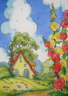Illustration-Down Hollyhock Lane Storybook Cottage Series Storybook Cottage, Cottage Art, Yellow Cottage, Hollyhock, Children's Book Illustration, Book Illustrations, Watercolor Art, Folk Art, Decoupage
