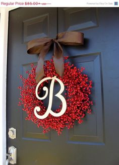 Red Berry Fall Wreath- Berry Wreaths- Thanksgiving Wreath- Monogram Wreath- Fall Decor- WEATHERPROOF $76.50