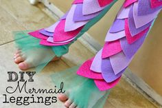 Mommy Testers DIY mermaid leggings, DIY Little Mermaid costume, Mermaid leggings, Mermaid leggings tutorial, No Sew mermaid leggings, felt mermaid leggings,