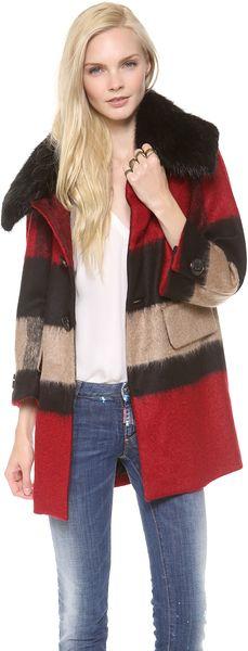 DSQUARED2 Red Olga Fur Collar Coat  - Lyst