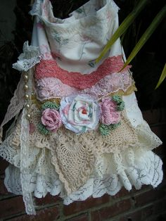 Linen Lace Bag, pink trim, ruffled lace, vintage doily, handmade crocheted roses, on Etsy