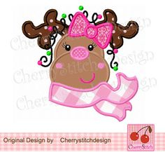 Girls Reindeer with Bow-Christmas embroidery design -4x4 5x7 6x10-Machine Embroidery Applique Design by CherryStitchDesign on Etsy