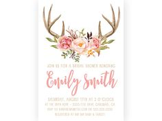Bridal Shower Invitation, Boho Antler, Rustic, Watercolor Flower, Printable Invitation (591)