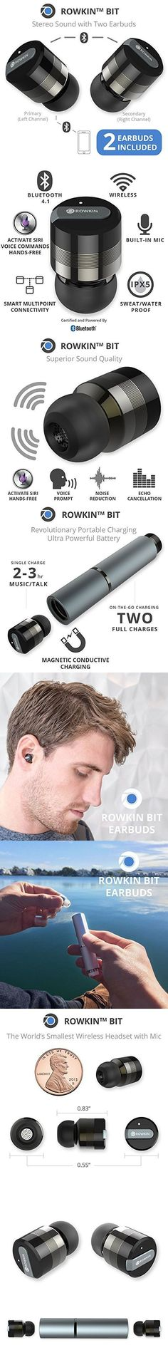 Rowkin Bit Stereo Bluetooth Headphones, Wireless Earbuds with Mic. Smallest Cordless Hands-Free In-Ear Earphones Headsets with Portable Charger & Noise Reduction for Running and iPhone. (Space Gray)