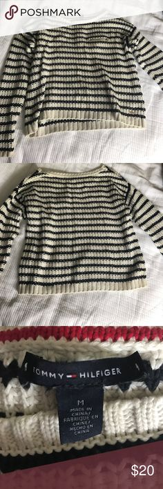 Tommy Hilfiger Navy Striped Sweater Navy & white striped Tommy Hilfiger sweater, loose fit with a zip pocket accent. In great condition! Tommy Hilfiger Sweaters Crew & Scoop Necks