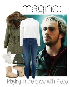 """""""Imagine: Playing in the snow with Pietro"""" by fangirlingciera ❤ liked on Polyvore featuring Quiksilver, River Island, UGG Australia, T By Alexander Wang, Hollister Co., Isotoner, Winter, marvel, snow and pietromaximoff"""