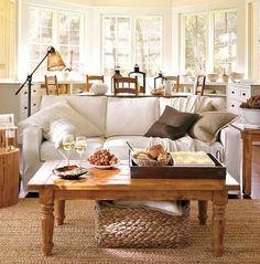calido salon sala livingroom rustico blanco cestas