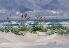 """""""Grey Day on the Beach"""" day, grey, ocean, oil painting, paint box, sand dunes, sea oats, st augustine beach, windy, seascape, painting by artist Chris Ousley"""
