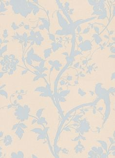 I LOVE LOVE this paper. Oriental Garden Duck Egg (3308213) - I hung this is my bedroom and just LOVE it!  Laura Ashley Wallpapers - A beautiful and elegant design of an oriental floral-trail of cherry blossoms and dainty birds in duck-egg blue on a shimmering pearlescent cream background.