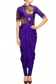 Deep violet embroidered drape set