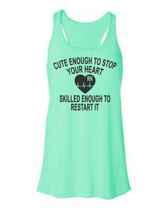 Cute Enough To Stop Your Heart Tank Top. Bella Flowy Fit. Nurse Gift. RN Nurse. Medical. LVN. Womens Tank. ECG.