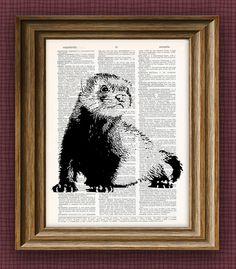 cool FERRET beautifully upcycled vintage dictionary book art print x 11 Photo Arrangement, Upcycled Vintage, Canvas Prints, Art Prints, Pretty Art, Etsy Handmade, Vintage Prints, Book Art, Art Drawings