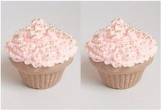 Set of 2 Tan Cupcakes with Pink Icing Perfect for 18 Inch American Girl® Dolls