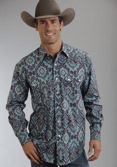 Stetson® Mens Purple & Turquoise Paisley Long Sleeve Pearl Snap Cowboy Shirt