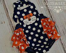 Girls Auburn Gameday Romper - Girls Gameday Sun suit - Auburn Tigers outfit - UA