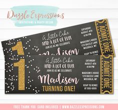 Printable Pink and Gold Glitter Ticket Birthday Invitation Ticket Invitation, Printable Birthday Invitations, Baby Shower Invitations, Invitation Cards, Elegant Birthday Party, Food Label, Free Thank You Cards, Party Package, Sleepover Party