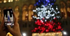 Turista faz fotos da árvores de Natal com luzes nas cores azul, branco e vermelho, da bandeira da França, em homenagem às vítimas dos ataques terroristas ocorridos na capital francesa em 13 de novembro, em frente à prefeitura em Viena, na Áustria